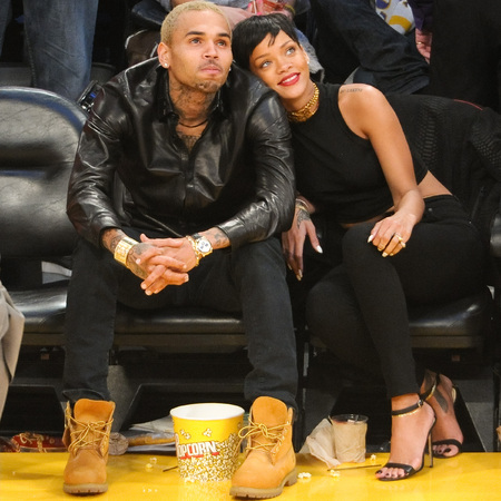 Rihanna and Chris Brown hit Lakers game on Christmas Day 2012