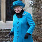 The Queen dons bright blue for Sandringham Christmas service