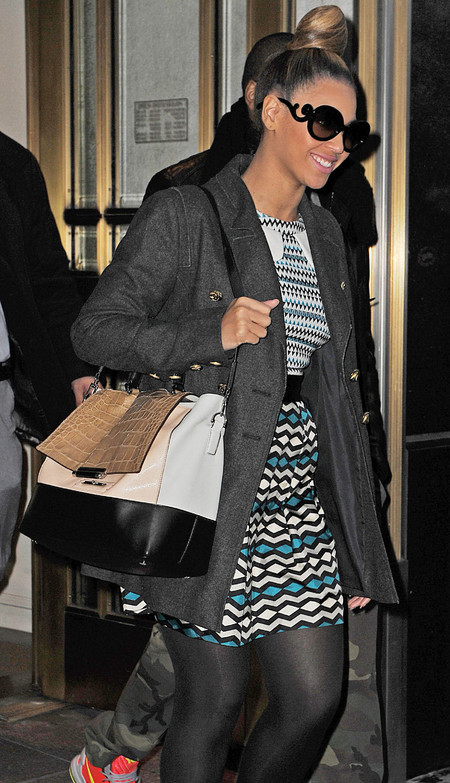 Beyonce wears printed Milly dress and Diane Von Furstenberg handbag