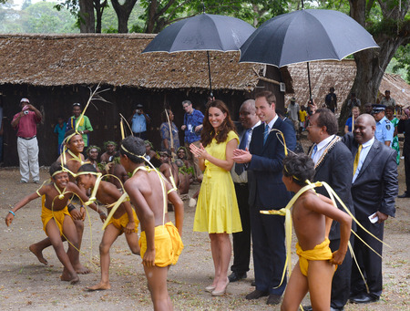 Prince William and the Duchess of Cambridge watch traditional dance