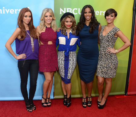 The Saturdays do mix n match prints for US promo tour
