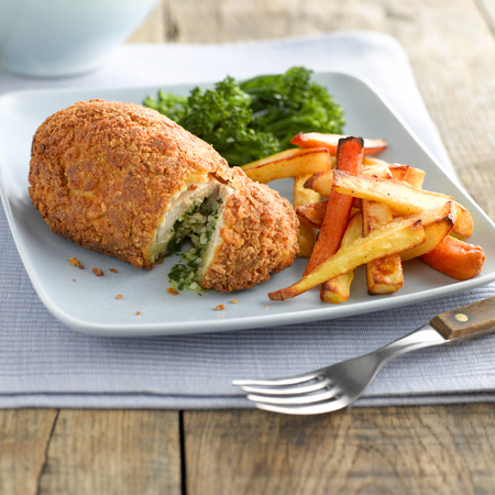 Chicken Kiev with root vegetable chips
