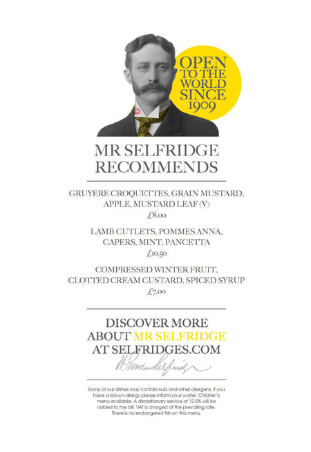 Mr Selfridge Afternoon Tea Menu