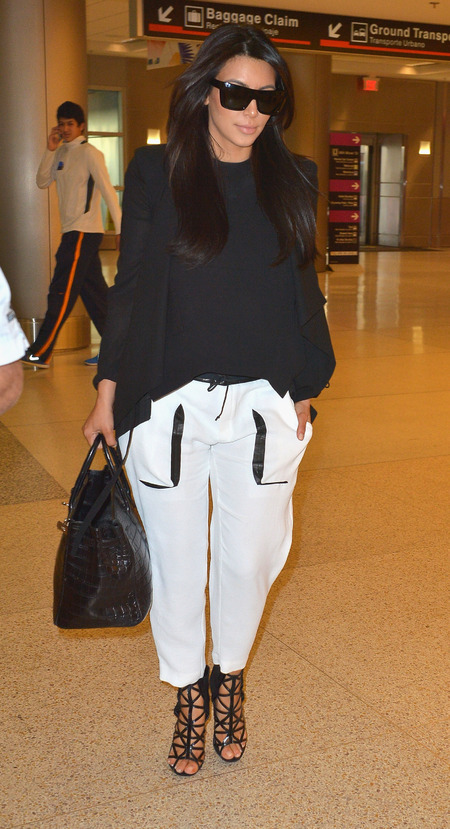 Pregnant Kim Kardashian does Helmut Lang and Celine comfort for flight