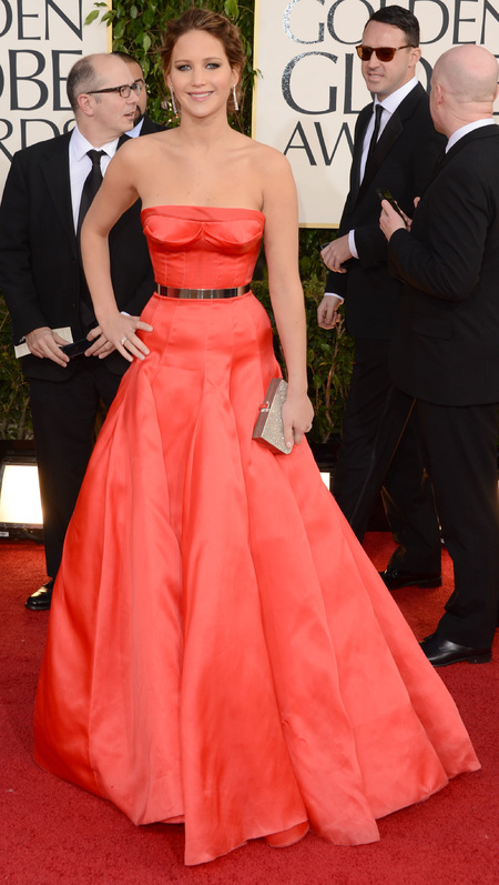 Jennifer Lawrence: Red Dior dress