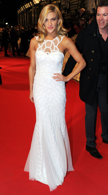 Ashley Roberts in sheer detailed dress