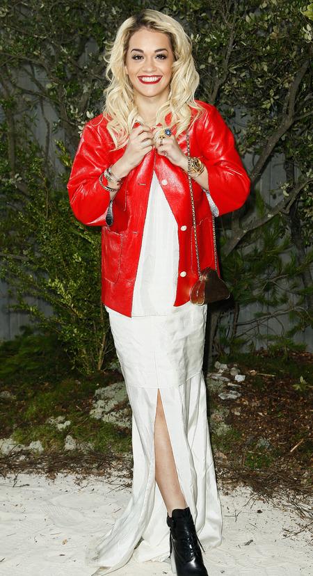 Rita Ora in split floor length dress