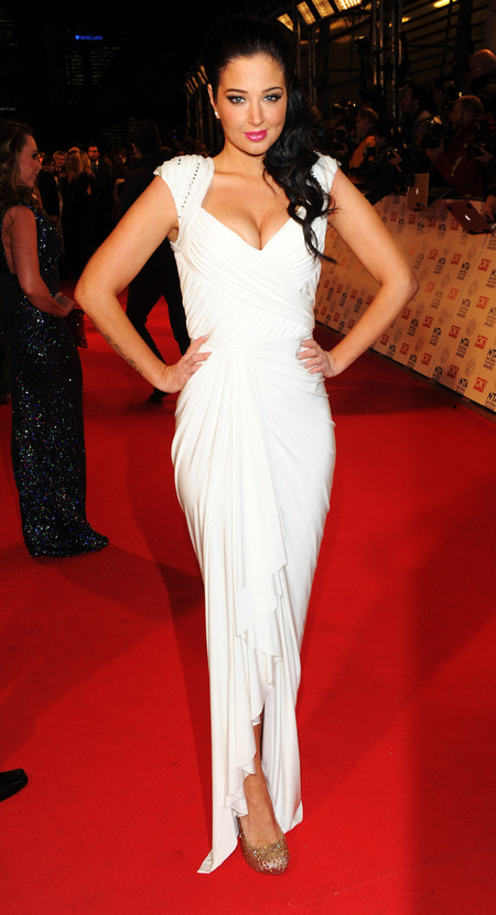 Tulisa in plunge neckline dress