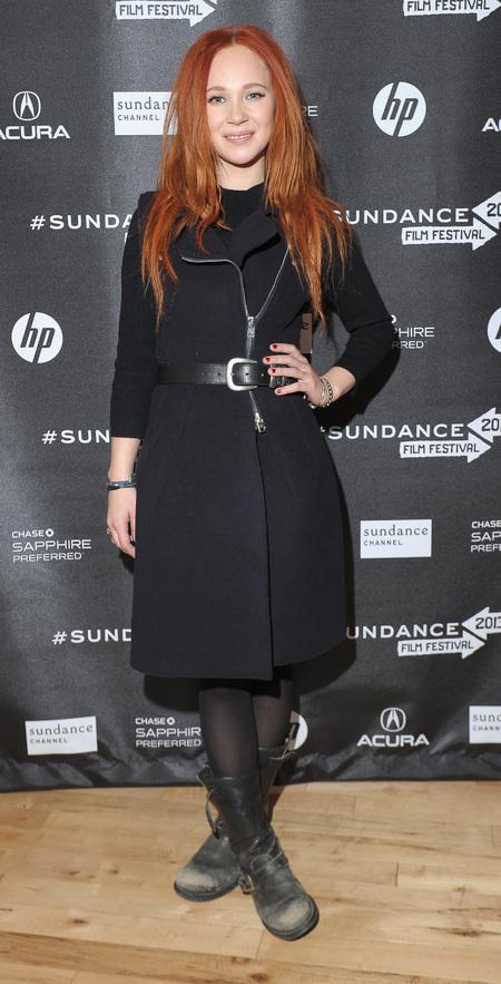 Juno Temple dons McQ Alexander McQueen coat dress at Sundance Film Festival
