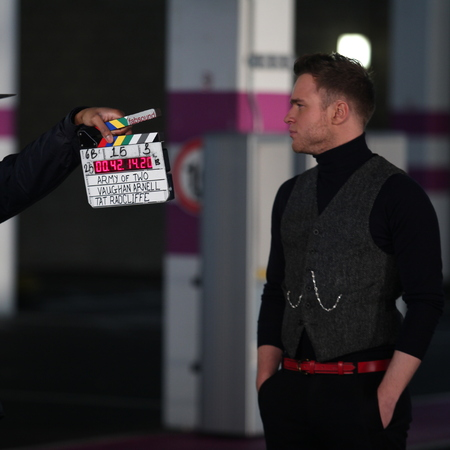 Olly Murs behind the scenes of Army Of Two video