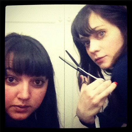 Zooey Deschanel gives lessons in at-home fringe trimming...