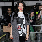 Jessie J gets ready for red nose day at Radio 1