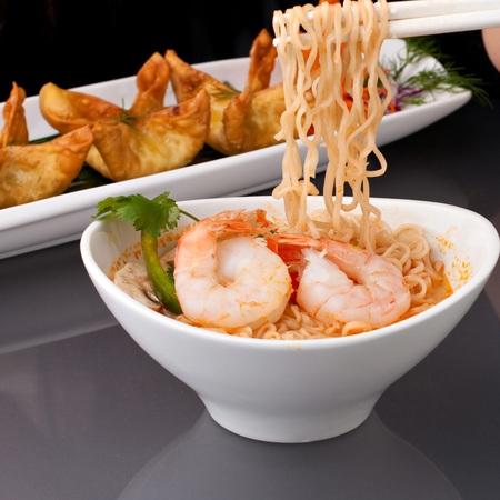 Black Tiger Prawns on Szechuan Noodles