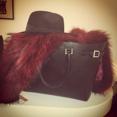 Millie Mackintosh styles Aspinal handbag with Charlotte Simone fur stole
