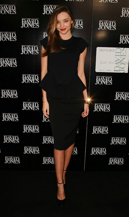 Miranda Kerr nails the peplum trend for fashion workshop