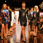 Miranda Kerr hits the catwalk in leather and brights
