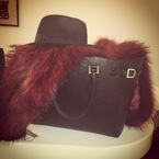 Millie Mackintosh styles Aspinal bag with fur stole