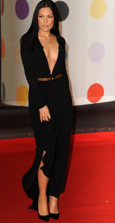 Jessie J in black plunging dress