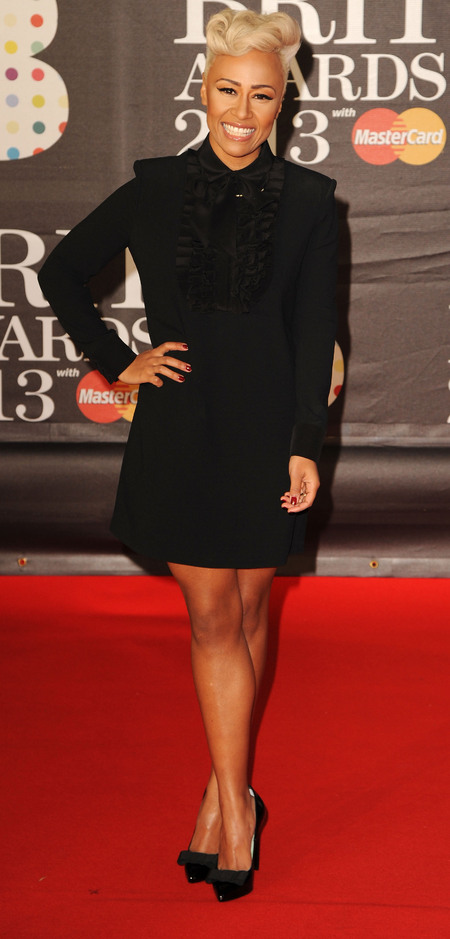 Emelié Sande's high-necked black mini dress
