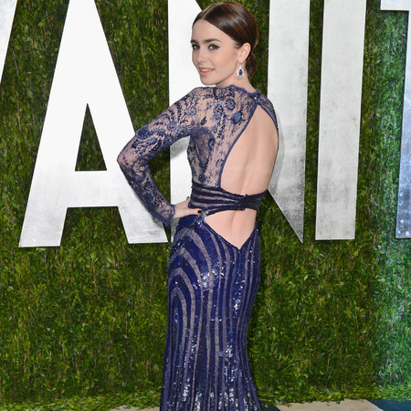 Lily Collins at Vanity Fair Oscars afterparty