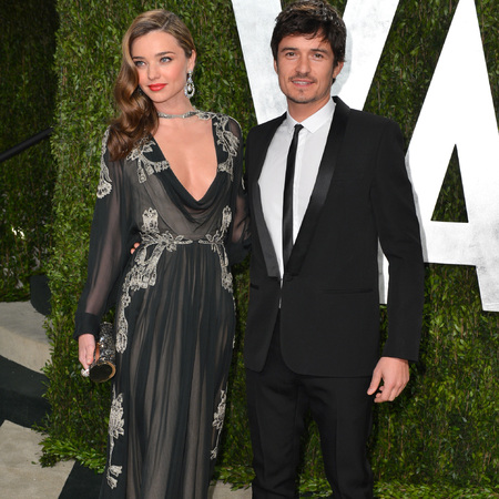 Miranda Kerr and Orlando Bloom at Vanity Fair Oscars afterparty - celebrity couples - celebrity divorces - red carpet fashion - handbag.com