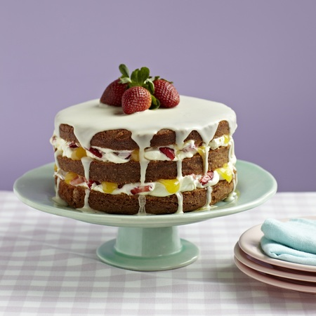 Mother's Day Strawberry and Lemon Sponge Cake