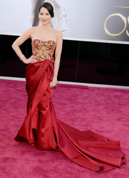 Olivia Munn in Marchesa dress