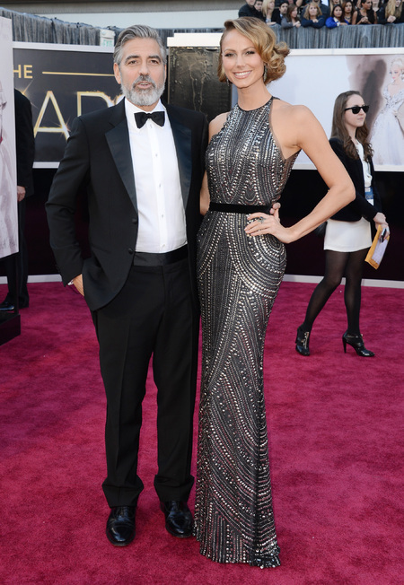 George Clooney and Stacy Keibler at the Oscars 2013