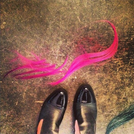 Alexa Chung pink extensions