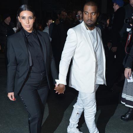 Kim Kardshian and Kanye West at Givenchy AW13 Paris Fashion Week