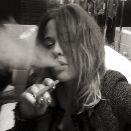 Kimberley Walsh smoking Shisha backstage
