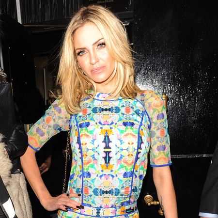 Sarah Harding's printed jumpsuit for Girls Aloud afterparty