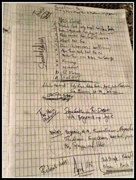 Leaked Beyonce album setlist