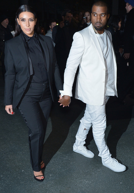 Kim Kardshian and Kanye West at Givenchy AW13 Paris Fashion Week