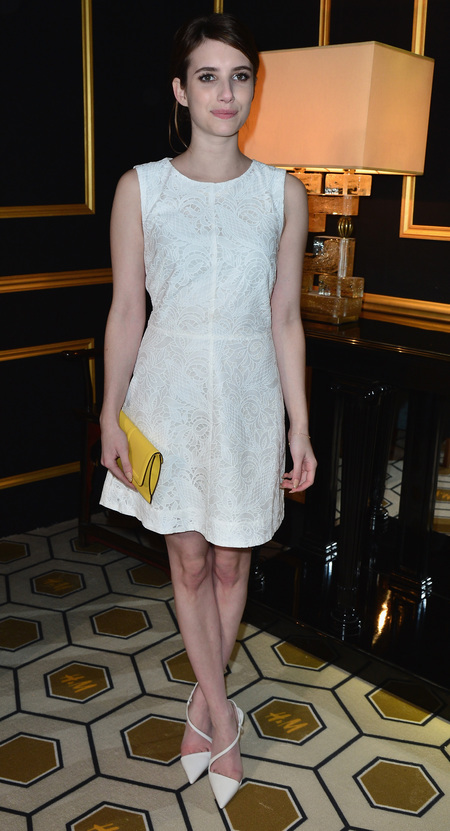 Emma Roberts in detailed cocktail dress