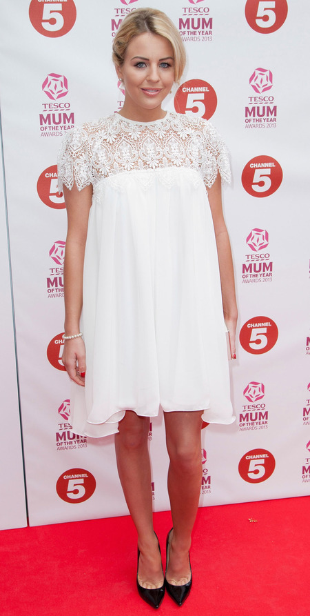 Lydia Bright in white Blake dress from her SS13 collection