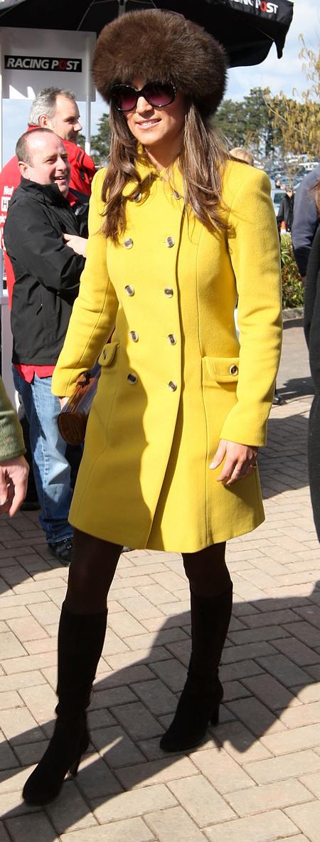 Pippa Middleton wears Katherine Hooker coat to Cheltenham Festival