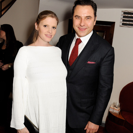 Pregnant Lara Stone and David Walliams at Comic Relief Book of Mormon gala
