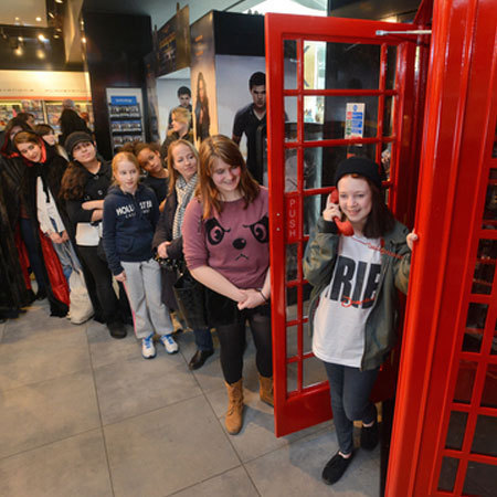 Devastated Twilight fans mourn the release of the final film at HMV's dedicated Twiline support phone-booth