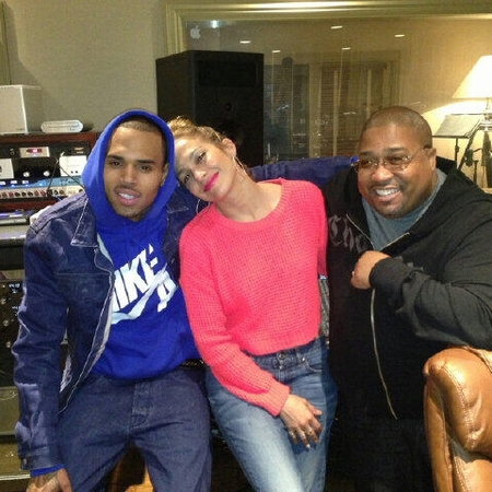 Chris Brown and Jennifer Lopez in the studio