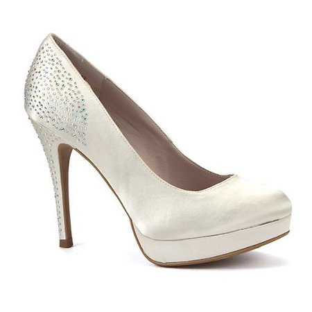 Ivory Satin heels New Look