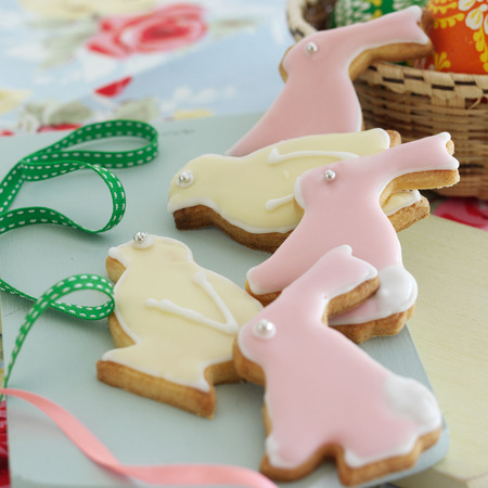 Easter bunny and chicks shortbread biscuits