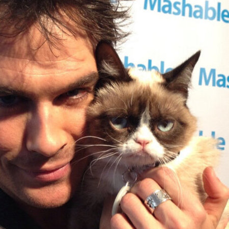 Vampire Diaries star Ian Somerhalder with Grumpy Cat