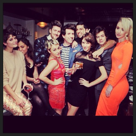 Iggy Azalea with Harry Styles, Peaches Geldof, Nick Grimshaw, Henry Holland, Alexa Chung at the Brit Awards