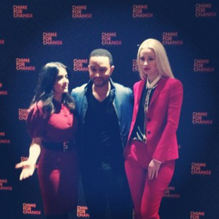 Iggy Azalea, Salma Hayek and John Legend