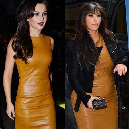 Cheryl Cole and Kim Kardashian in mustard leather