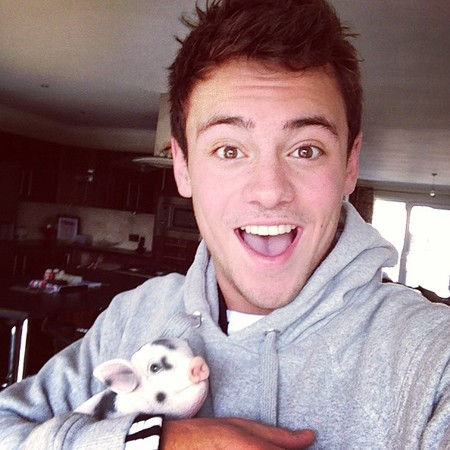 Tom Daley and Robby-Ray, his micro pig
