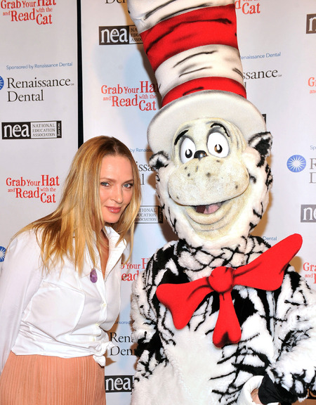 Uma Thurman with Cat In The Hat