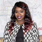 Misha B shows off retro rolls and red dip-dye