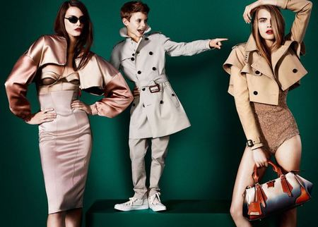 Romeo Beckham models alongside Cara Delevingne for Burberry SS13
